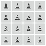 Vector black traffic cone   icons Royalty Free Stock Photos