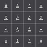 Vector black traffic cone   icons set Stock Image