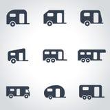 Vector black trailer icon set Royalty Free Stock Image