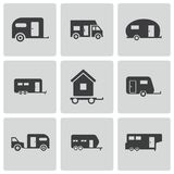 Vector black trailer icons set Royalty Free Stock Images