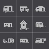 Vector black trailer icons set Royalty Free Stock Image