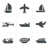 Vector black transport icons. Vector black transport design set royalty free illustration