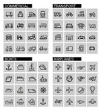 Vector black transport icons set Royalty Free Stock Image