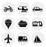 Vector black transportation icons Stock Photo