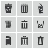 Vector black trash can icons set Stock Photos
