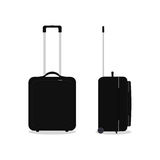 Vector black travel bag or suitcase. Isolated on white. Stock Photos