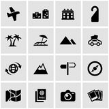 Vector black travel icon set. On grey background Royalty Free Stock Photos