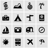 Vector black travel icon set. On grey background Royalty Free Stock Photography