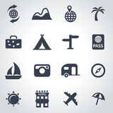 Vector black travel icon set. On grey background Royalty Free Stock Image