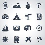 Vector black travel icon set Royalty Free Stock Image