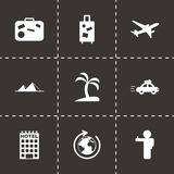 Vector black travel icons set Royalty Free Stock Photo