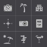 Vector black travel icons set Royalty Free Stock Photos