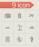 Vector black travel icons set Stock Photography