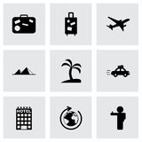 Vector black travel icons set Royalty Free Stock Image