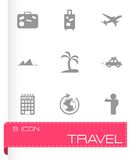 Vector black travel icons set Stock Photo