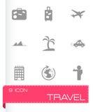 Vector black travel icons set Stock Photo