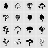Vector black trees icon set Royalty Free Stock Image