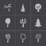 Vector black trees icons set Stock Photography
