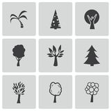 Vector black trees icons set Royalty Free Stock Image