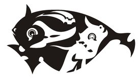 Vector black tribal fish Stock Image