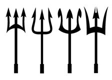 Vector black trident icons set Royalty Free Stock Images