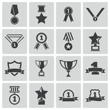 Vector black  trophy and  awards  icons Royalty Free Stock Photography