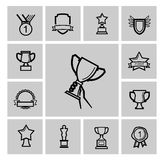 Vector black trophy and awards icons set Stock Photos