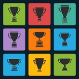 Vector black trophy cup icons set Royalty Free Stock Photos
