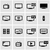 Vector black tv icon set Stock Image