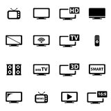 Vector black tv icon set Royalty Free Stock Images