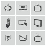 Vector black TV icons set Stock Photo