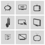 Vector black TV icons set Stock Photo
