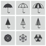 Vector black umbrella icons set Royalty Free Stock Photos