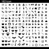 Vector black 182 universal web icons set. On gray Stock Photography