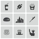 Vector black USA icons set Royalty Free Stock Photo