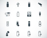 Vector black  usb  icons Stock Images