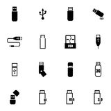 Vector black usb icons set vector illustration