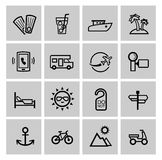 Vector black vacation travel icon set. This is file of EPS10 format Stock Photo