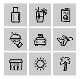 Vector black vacation travel icon set. This is file of EPS10 format Royalty Free Stock Photo