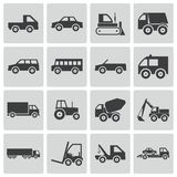 Vector black  vehicle icons Stock Photography