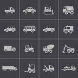 Vector black  vehicle icons set Royalty Free Stock Images