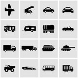Vector black vehicles icon set. On grey background Royalty Free Stock Photography