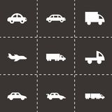 Vector black vehicles icons set Royalty Free Stock Images