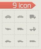 Vector black vehicles icons set Stock Image