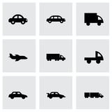 Vector black vehicles icons set Stock Images