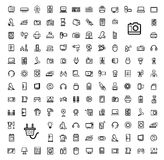 Vector black video and audio icons set Royalty Free Stock Photos