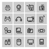 Vector black video and audio icons set Stock Photography
