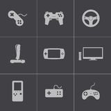 Vector black video game icons set Royalty Free Stock Photography