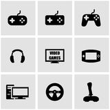 Vector black video games icon set Stock Photo