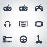 Vector black video games icon set. On grey background Royalty Free Stock Image